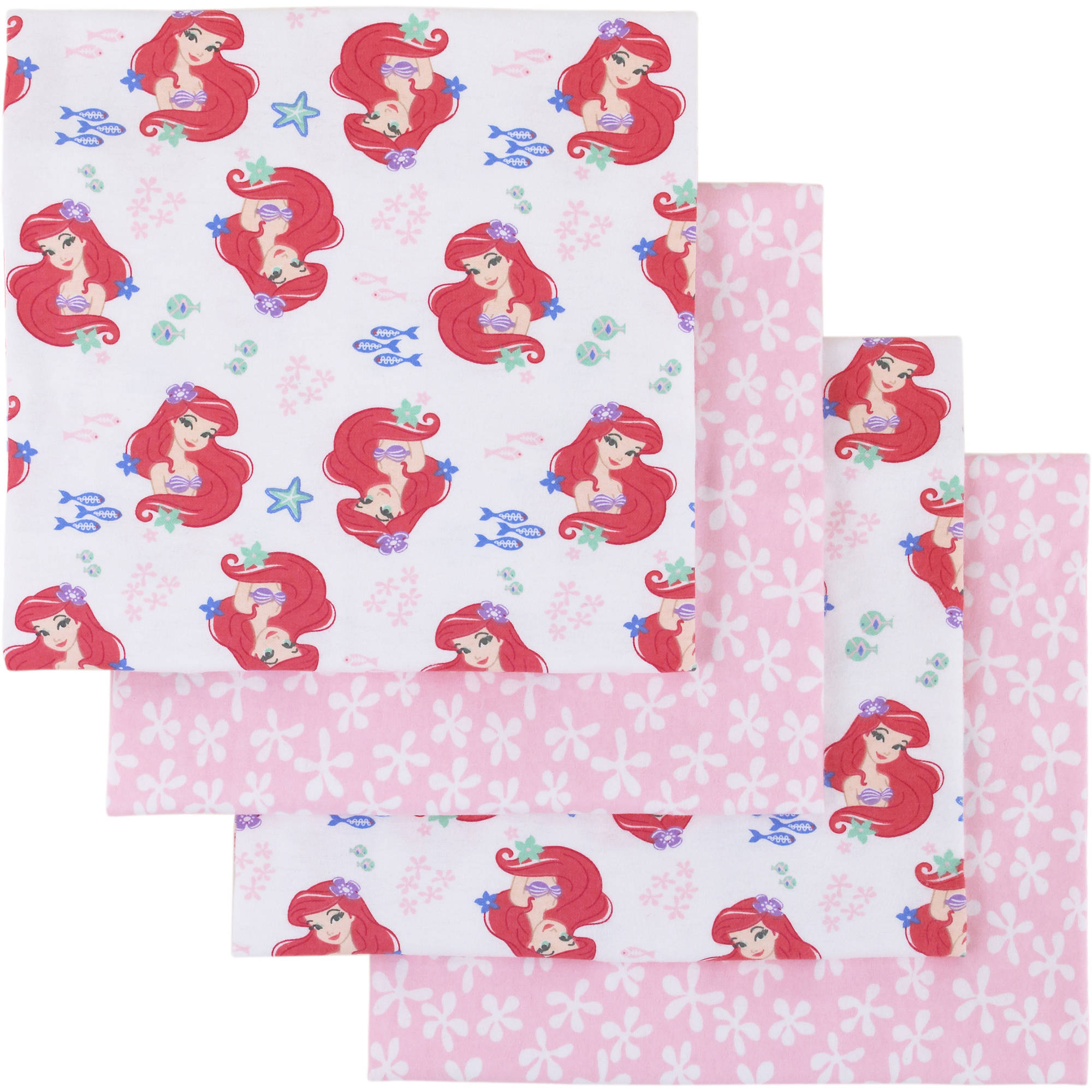 Disney Ariel Ocean Beauty 4pk Flannel Receiving Blanket