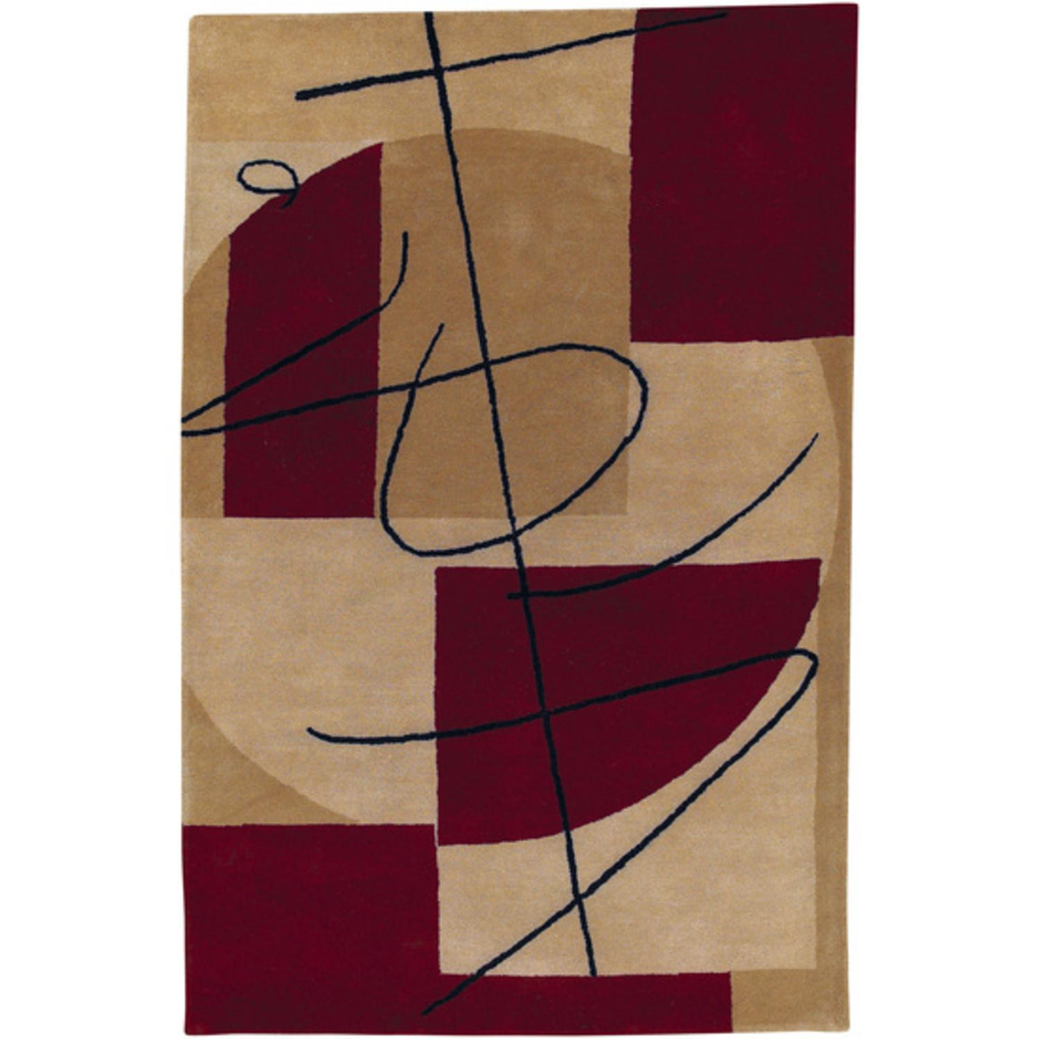 2' x 3' Touch of Grace Maroon Red and Tan Wool Area Throw Rug