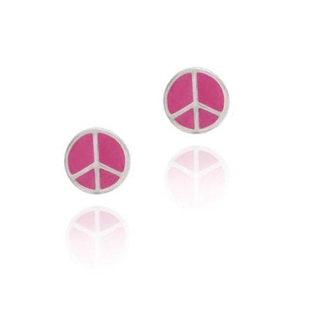Sterling Silver Pink Enamel Peace Sign Symbol Earrings