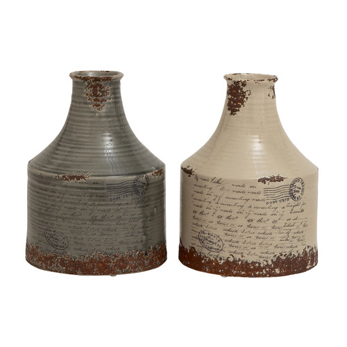 Woodland Imports 2 Piece Ceramic Vase Set by Woodland Imports
