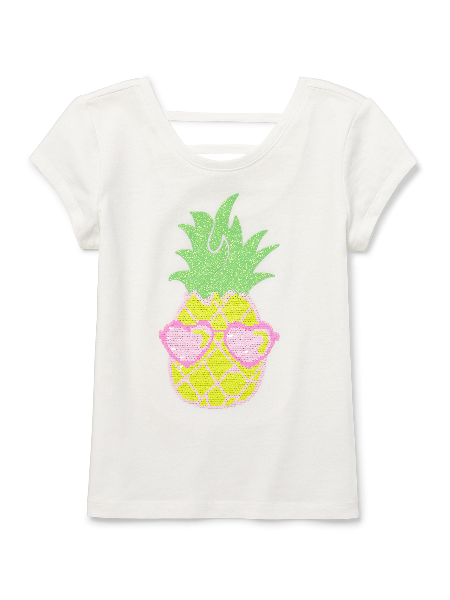 Reversible Flip Sequin Pineapple Lace Up Tee (Little Girls & Big Girls)