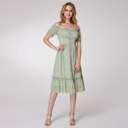 Alisa Pan Women's Retro Off Shoulder Floral Print Button Down Knee Length Fashion Casual Dresses for Women 05958