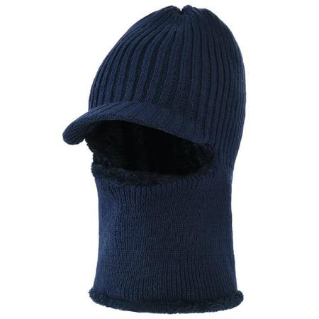Mens Knit Hat-Allcaca Mens Wool Knit Visor Beanie Dual-use Winter Hat  Fleece Mask Neck Warmer For Men and Women b8e6ba68eec6