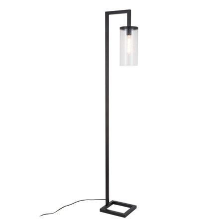 Evelyn&Zoe Modern Metal Floor Lamp with Seeded Glass Shade