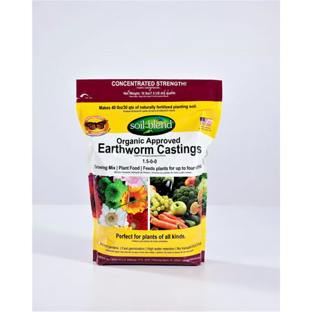 Soil Blend Worm Castings, Organic Fertilizer Plant Food. 10 Lb. Bag Concentrated (10 Lbs. makes 40 Lbs.) Pure, Earthworm Castings with no fillers. Certified Organic, Non-GMO, Odorless.