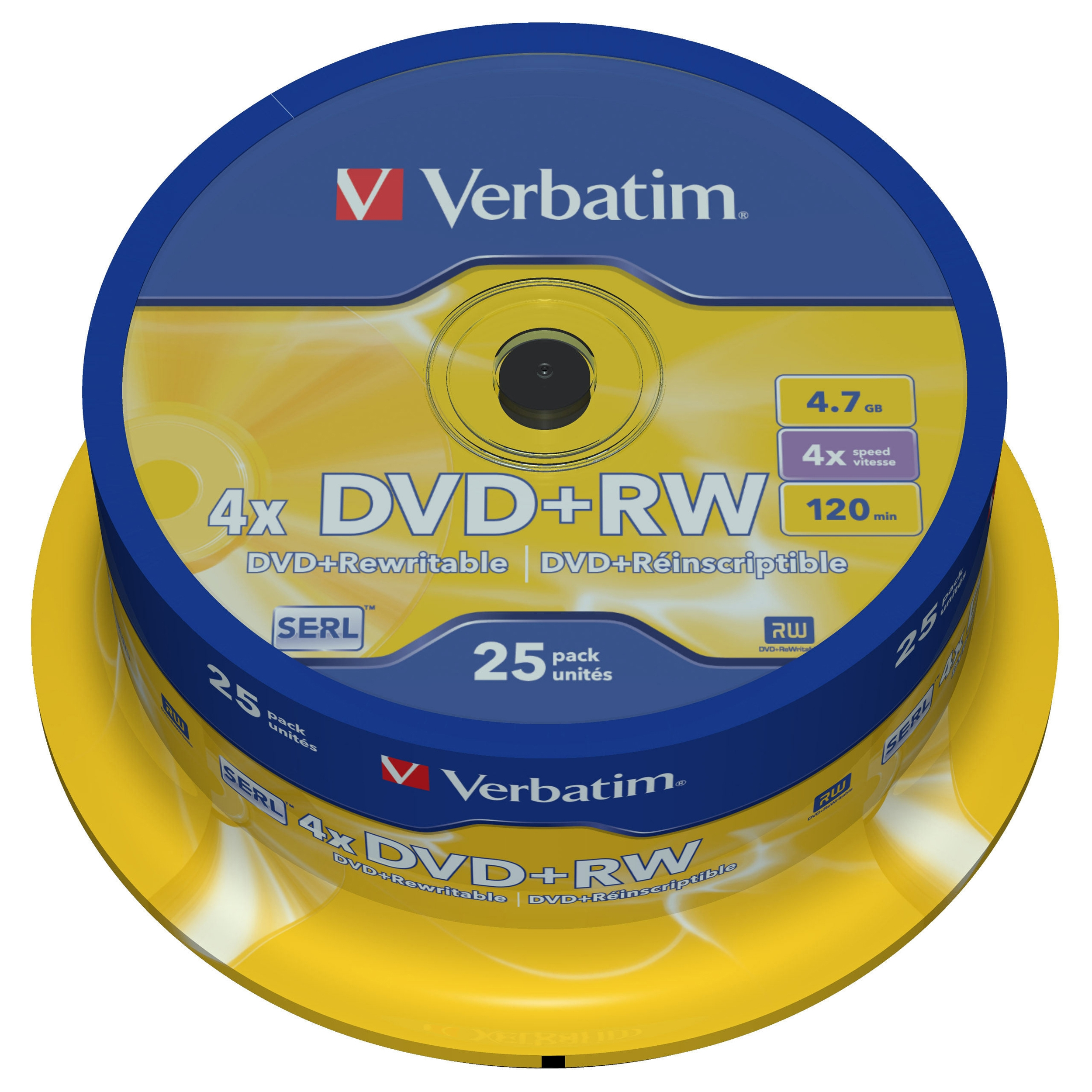 Verbatim 43489 Dvd+rw 4.7gb 4x Datalifeplus Branded Surface 25pk Spindle Taa Compliant