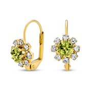 Kelly Green And White Crystal Flower 18K Gold Plated Brass Leverback Drop Earrings for Women