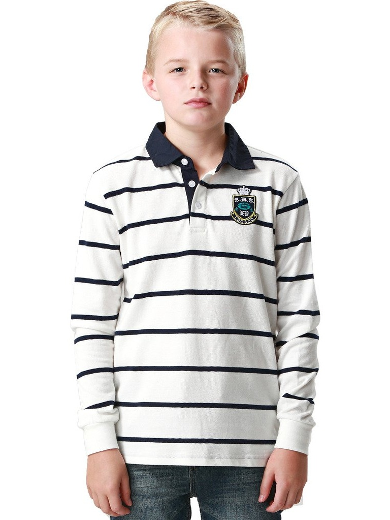 Leo&Lily Little Boys' Casual Dressing Yarns Dyed Striped Rugby Polo Shirts