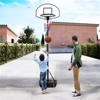 SmileMart Portable 6.4-8.2 ft Height Adjustable Basketball Hoop Syetem