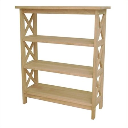 Alder Unfinished Bookcase - Pemberly Row Unfinished Wood X-Sided 3 Shelf Open Bookcase
