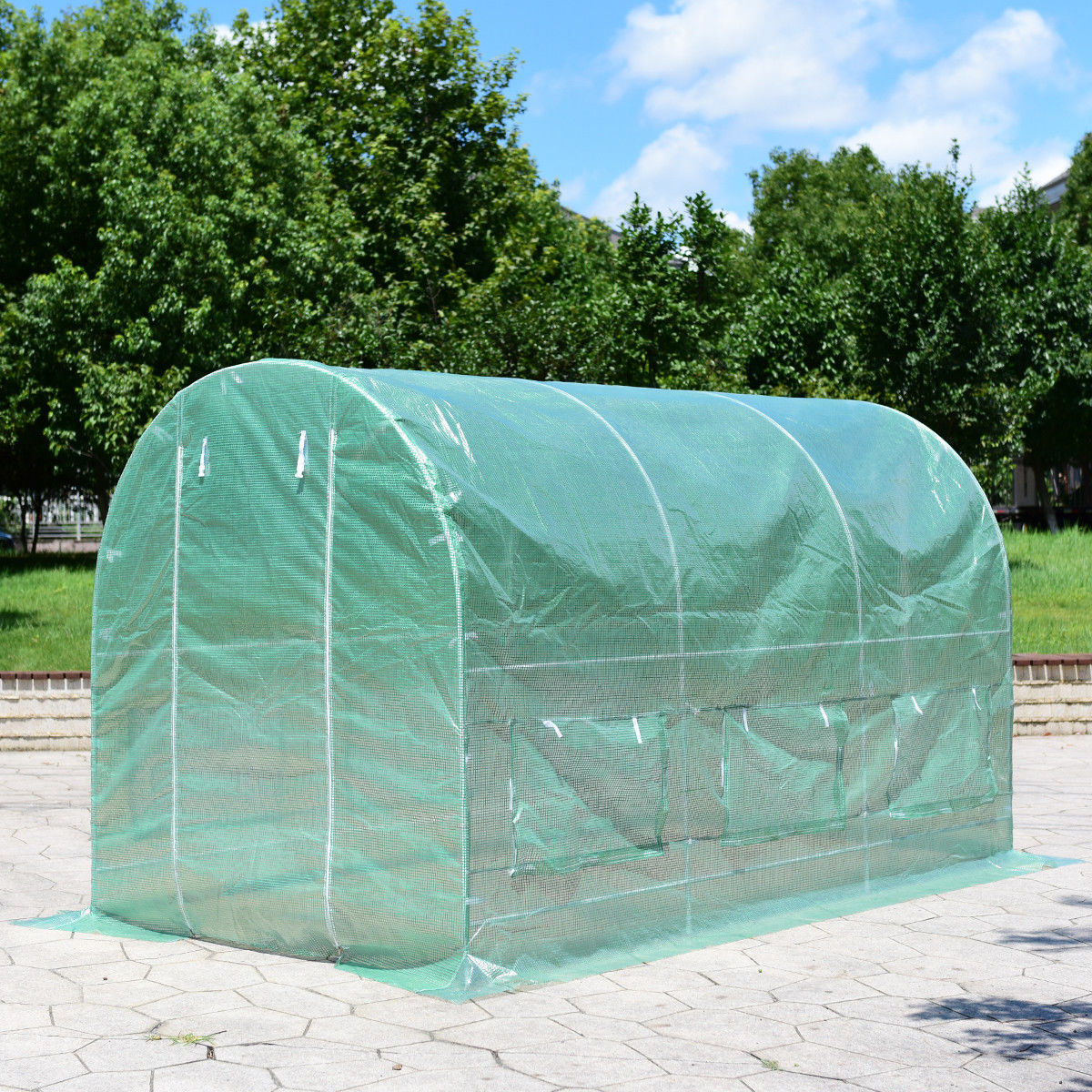 Costway 11.5'X 6.5'X6.5 Walk-in Greenhouse Steel Frame Backyard Grow Tents 6 Windows by Costway