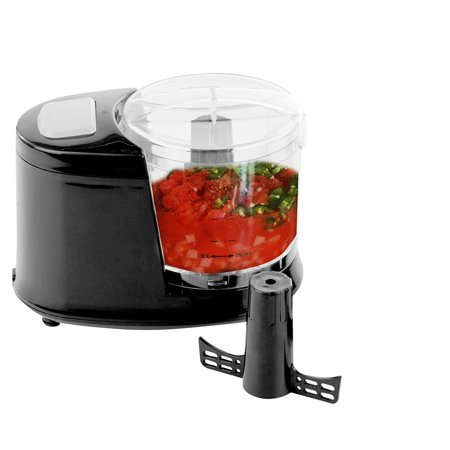 Ovente Mini Food Processor with One Touch Pulse Control, 100-Watts, Pulse Control, 1.5 Cup, Includes Chopping Blade and Shredding Disc, Mixer, Detachable Pillar, Black