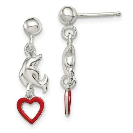 Silver Enamel Dolphin (Sterling Silver Madi K Enamel Dolphin and Heart Dangle Earrings (0.9IN)
