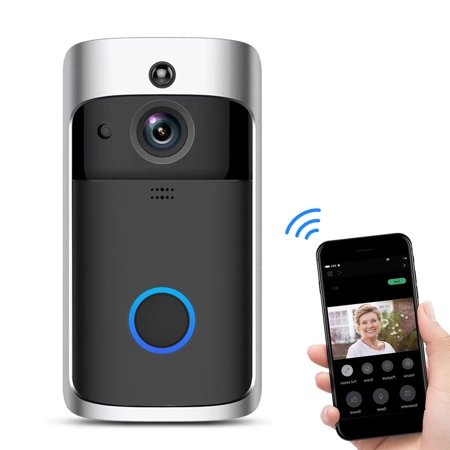 TSV Wireless Video Doorbell with LED Ring Button HD WiFi Camera with Real-time Video, Two-Way Talk, Night Vision, PIR Motion Detection, Work with iOS Android,Powered by AC & DC & Battery