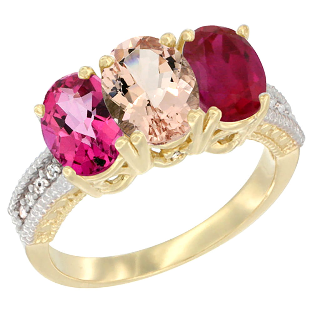 10K Yellow Gold Diamond Natural Pink Topaz, Morganite & Ruby Ring 3-Stone Oval 7x5 mm, sizes 5 10 by WorldJewels