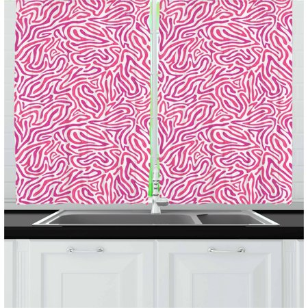 Pink Zebra Curtains 2 Panels Set Curved Wild Wavy Line