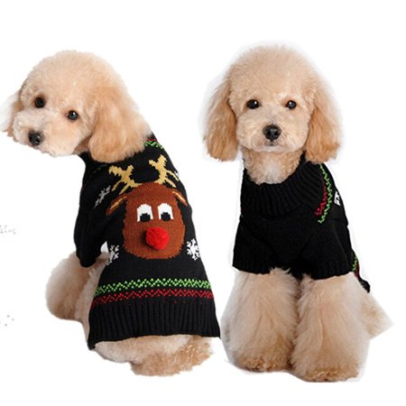 Winter Christmas Pet Warm Clothes Knitted Reindeer Snowflake Puppy Dog Sweater Cute Deer Pattern Costume