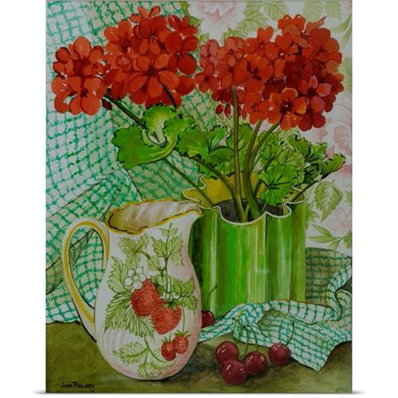 Great Big Canvas Joan Thewsey Poster Print Entitled Red Geranium With The Strawberry Jug And Cherries  W C On Hand Made Paper