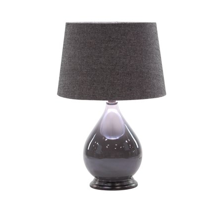 Decmode Modern 25 X 16 Inch Matte Gunmetal Gray Metal Table Lamps With Linen Shades - Set Of (Gunmetal Grey Color)