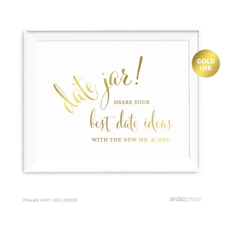 Date Jar - Share Best Date Idea Metallic Gold Wedding Party Signs (Halloween Jar Ideas)