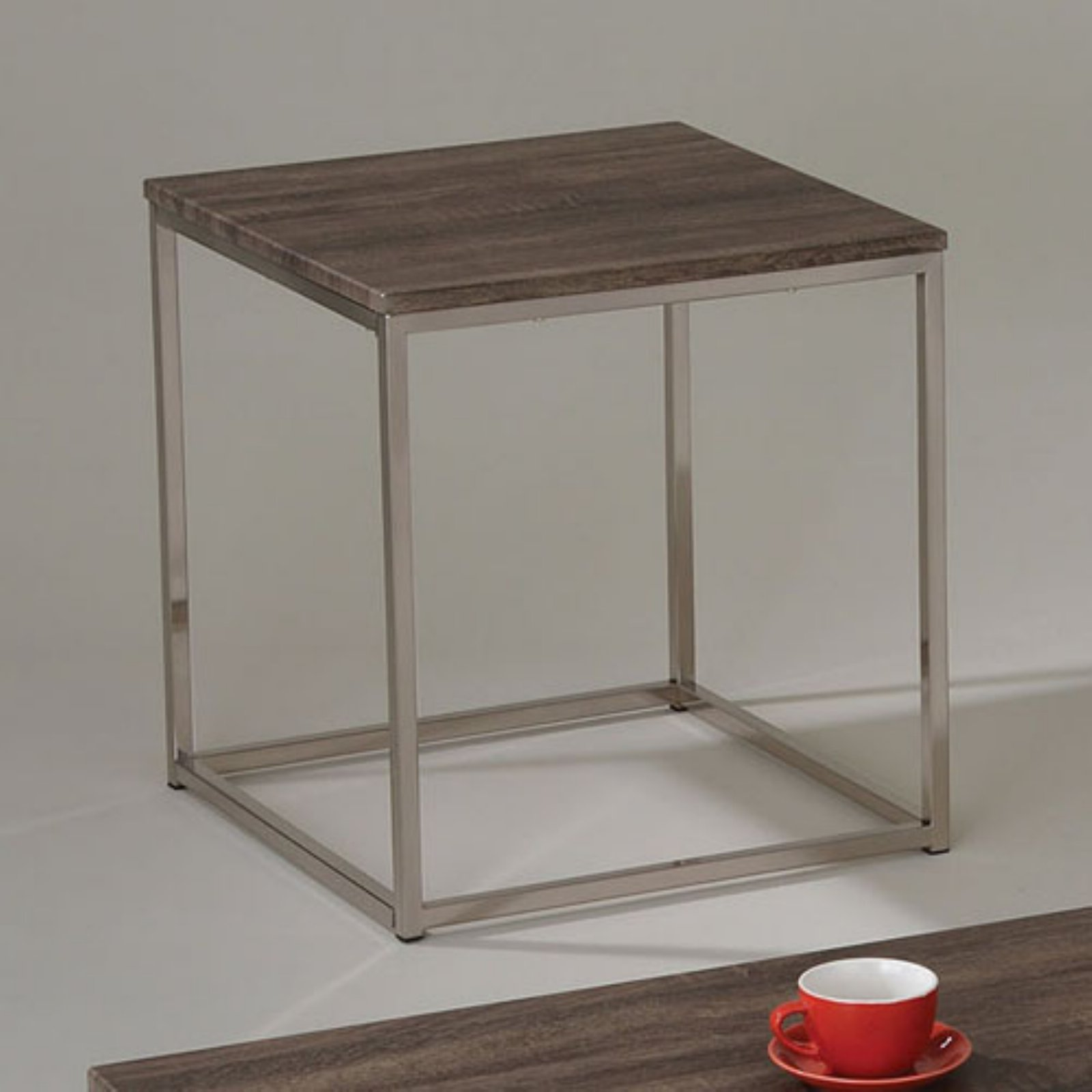 Cecil End Table, Walnut and Brushed Nickel