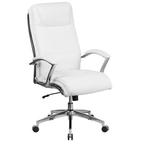 Flash Furniture High Back Designer White Leather Executive Swivel Office Chair with Padded Arms and Chrome -