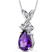 0.50 Carat T.G.W. Pear-Cut Amethyst and Diamond Accent 14kt White Gold Pendant, 18