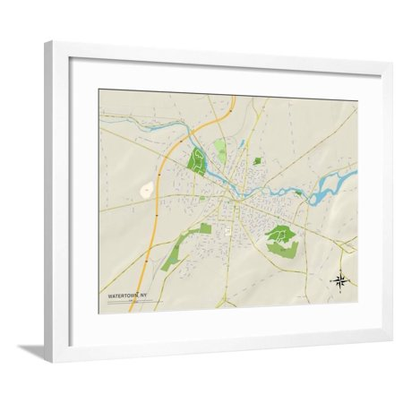 Political Map of Watertown, NY Framed Print Wall Art