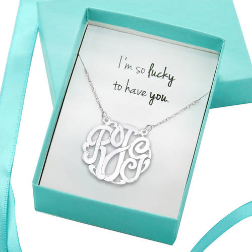 I'm So Lucky to Have You Monogram Necklace, Gift Boxed