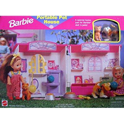 Barbie portable pet house - home for barbie's pets (1998 arcotoys, mattel)