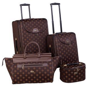 AF 4P FleurDeLis LuggagSet Brown