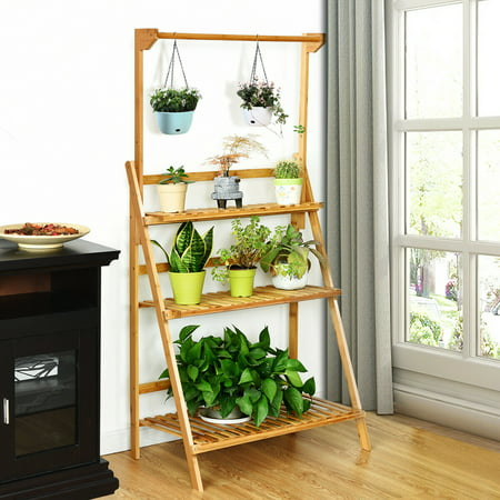 Costway 3 Tier Bamboo Hanging Folding Plant Shelf Stand Flower Pot Display Rack (3 Tier Folding Shelf)
