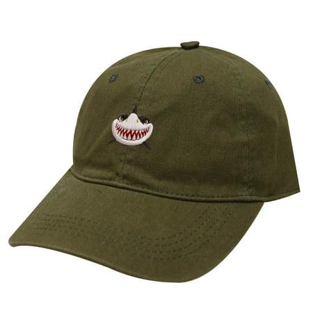 City Hunter C104 Shark Face Cotton Baseball Dad Caps 19 Colors (Olive)