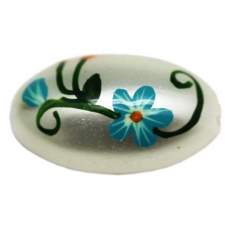 Gray Colored Short Pill Shaped Bead With Painted Floral Design - Floral Beads