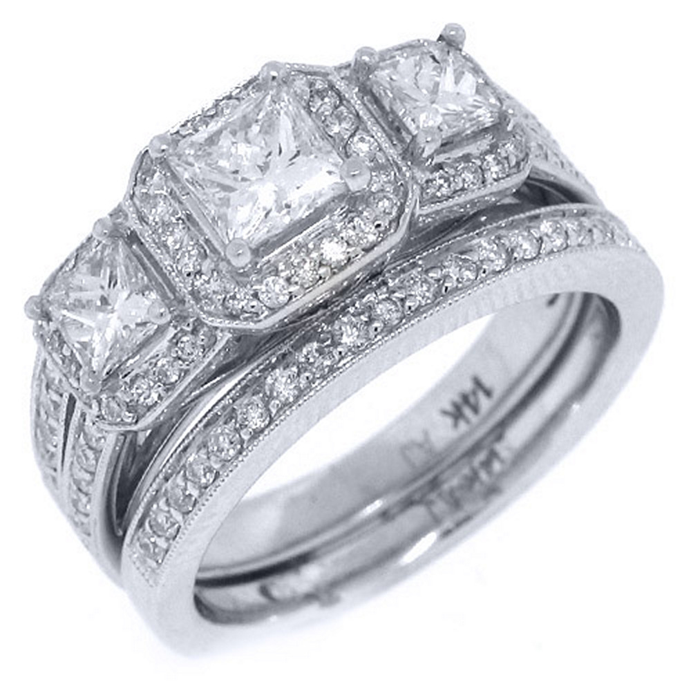 14k White Gold Princess 3-Stone Diamond Engagement Ring Bridal Set 2.05 Carats