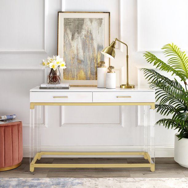 Inspired Home Alena Console Table 2 Drawers High Gloss Acrylic Legs Gold Stainless Steel Base Modern Design, White/Gold