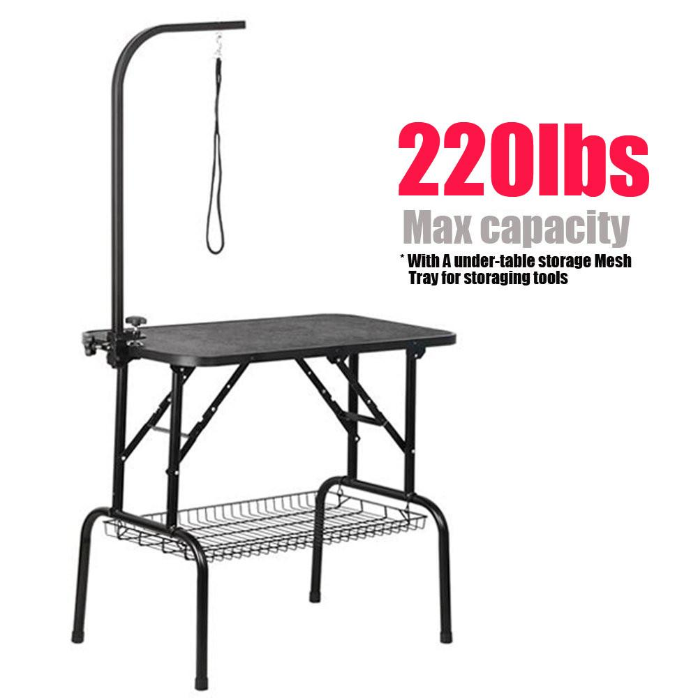 "Professional 32"" Foldable Pet Grooming Table W/Arm & Noose & Mesh Tray, Maximum Capacity Up to 220lbs"