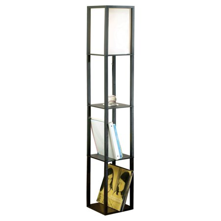 Cresswell Lighting Matte Black Square Wooden Etagere Floor Lamp