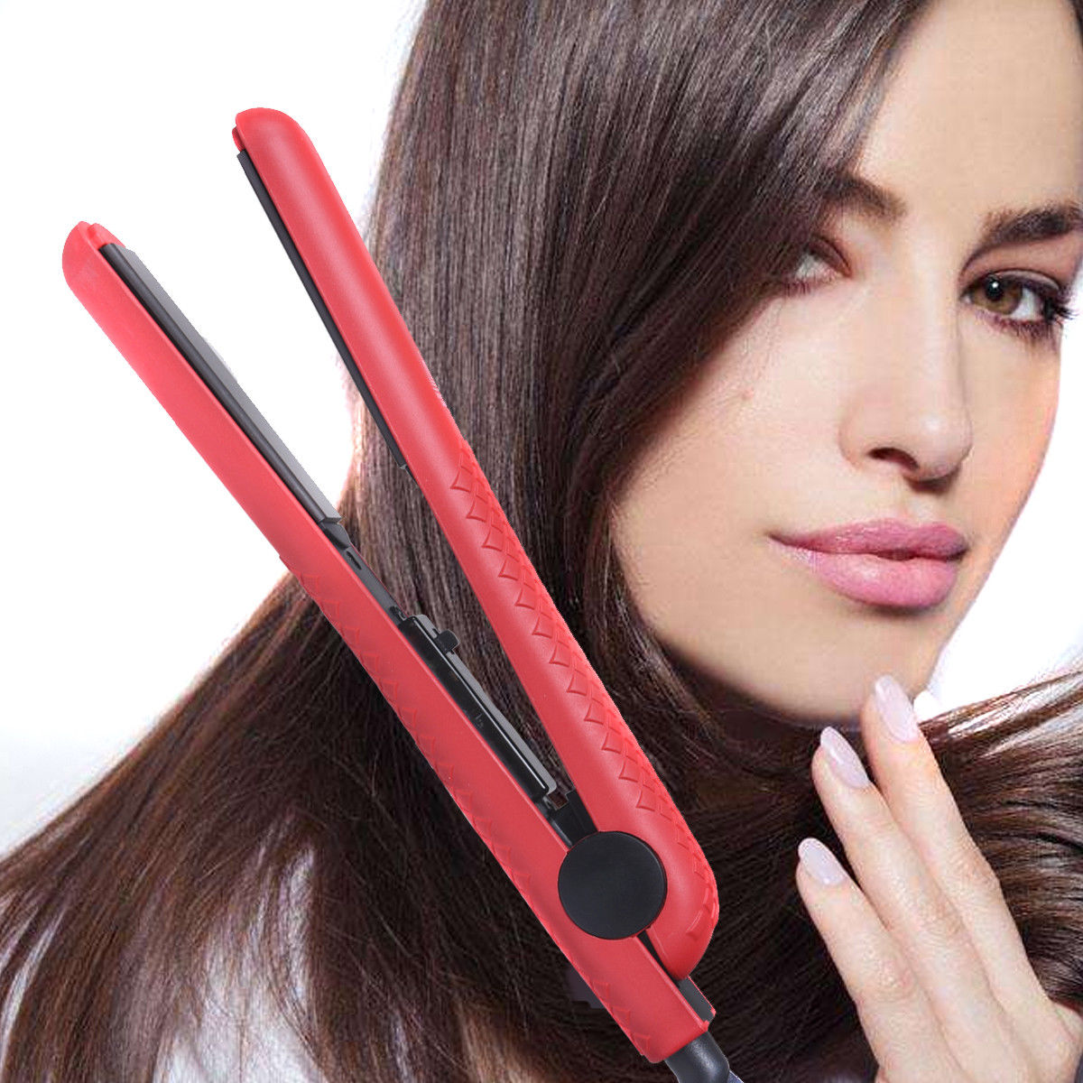 Gymax Ceramic Hair Straightener Straightens & Curly Adjustable Temp For All Hair Types