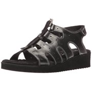 Walking Cradles Women's Harley Flat Sandal, Black, 8 2W US