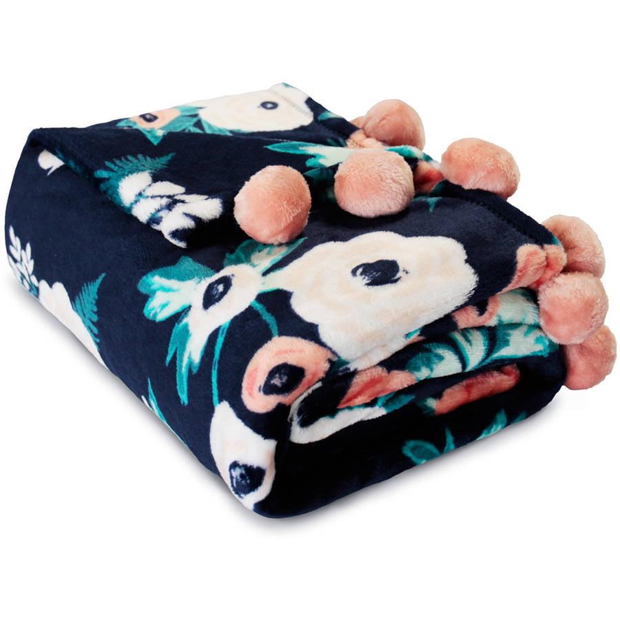 Mainstays Cozy Plush Fleece Pompom Throw Blanket, 1 Each
