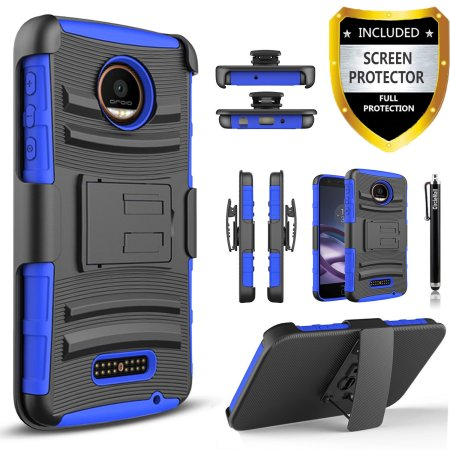 Moto Z Play Case, Dual Layers [Combo Holster] Case And Built-In Kickstand Bundled with [Premium Screen Protector] Hybird Shockproof And Circlemalls Stylus Pen (Camo)