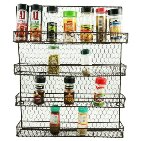Metal Spice Rack Kitchen Wall Mount 4 Tier Metal Wire Spices ...