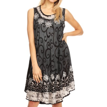 633a73f8199e2 Sakkas - Sakkas Anabel Women's Short Flowy Caftan Tank Dress Cover up Light  Swing A-line - Black/White - One Size Regular - Walmart.com