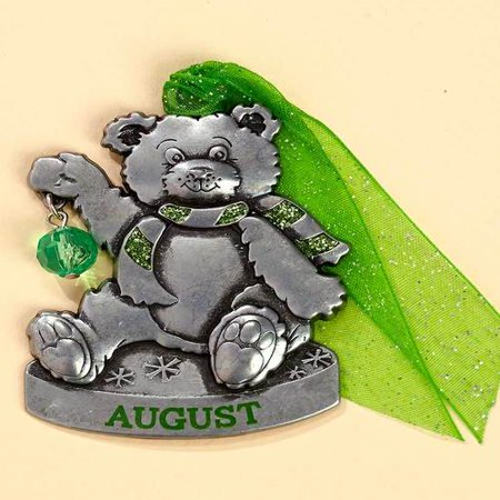 Fox Valley Traders Personalized Pewter Birthstone Bear Ornaments, August (Pewter Fox)