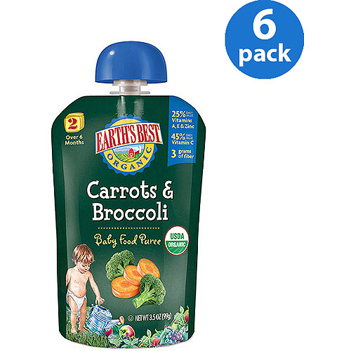 Earth's Best Organic Puree Carrots & Broccoli 3.5oz - Stage 2 Baby Food (Pack of 6)