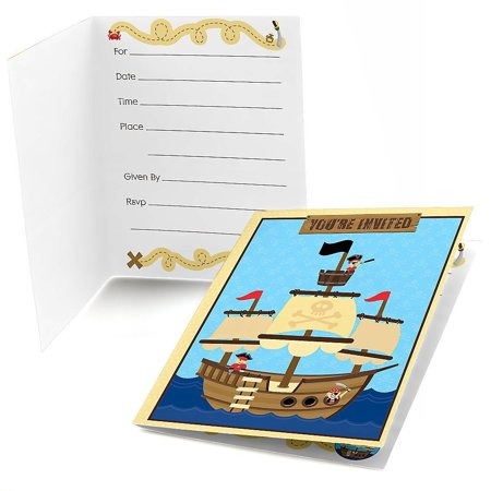 Ahoy Mates! Pirate Fill In Baby Shower or Birthday Invitations (8 count)