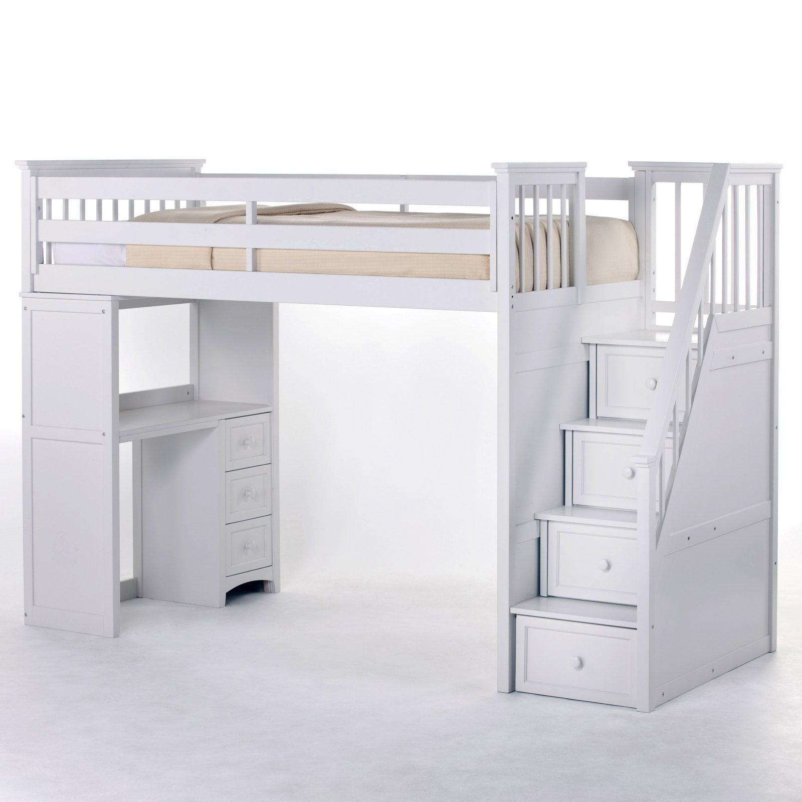 NE Kids Schoolhouse Stairway Loft Bed - White