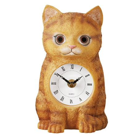 Cute Cat Clock Statue with Moving Eyes, Elegant Roman (Black Cat Clock With Moving Eyes And Tail)