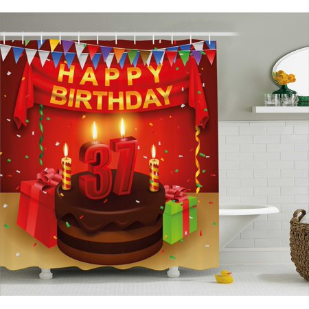 - 37th Birthday Decorations Shower Curtain, Chocolate Cake Gifts Balloons Flag Cute Icons Candles Artsy Image, Fabric Bathroom Set with Hooks, 69W X 70L Inches, Multicolor, by Ambesonne